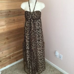 Dresses & Skirts - Leopard print chiffon maxi dress